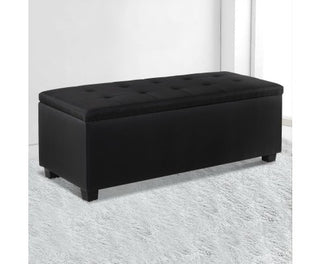 Ottoman Storage Foot Stool Large - Black / Dark Grey