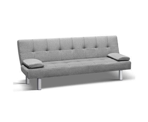 3-Seater Fabric Sofa Bed - Grey