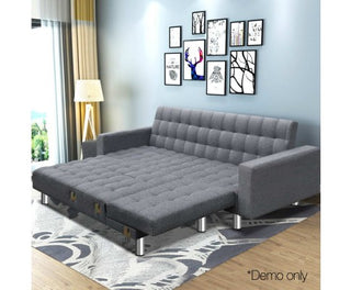 Modular Fabric Sofa Bed - Grey