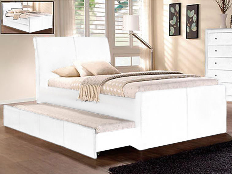Charlie Collection Bed Frame w/ Trundle - White