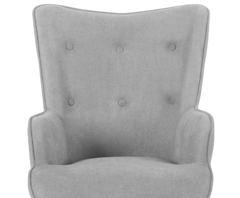Armchair & Ottoman - Light Grey