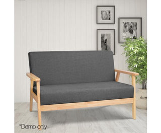2-Seater Fabric Sofa Couch - Grey