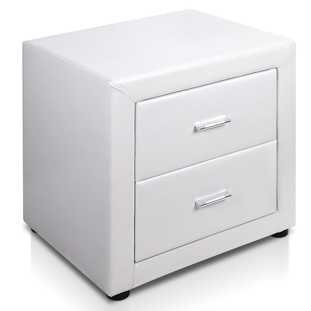 Deluxe PU Leather 2 Drawers Cabinet White