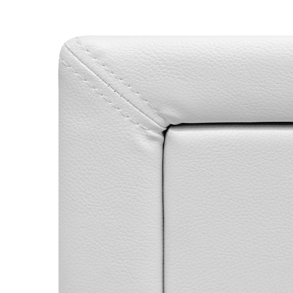 Deluxe PU Leather Bedside Table - White