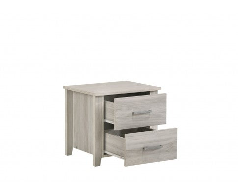 2 Drawer Bedside Table - White Oak
