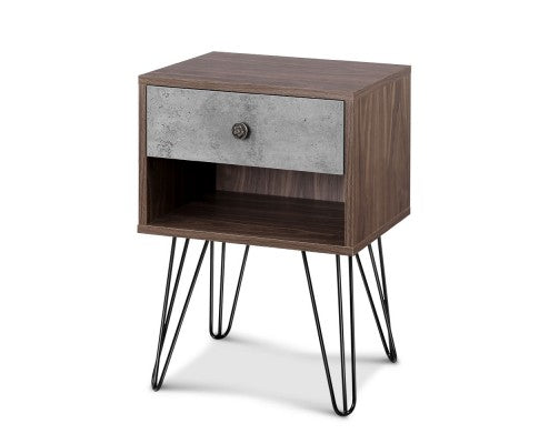 Bedside Table with Drawer - Grey & Walnut