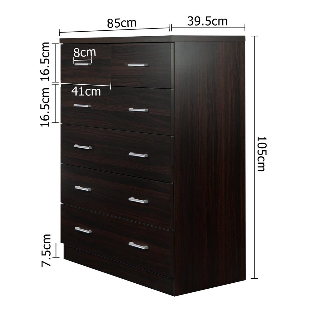 Tallboy 6 Drawers Storage Cabinet - Walnut