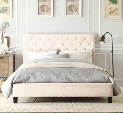 Brooklyn Collection Bed Frame - Light Beige / White