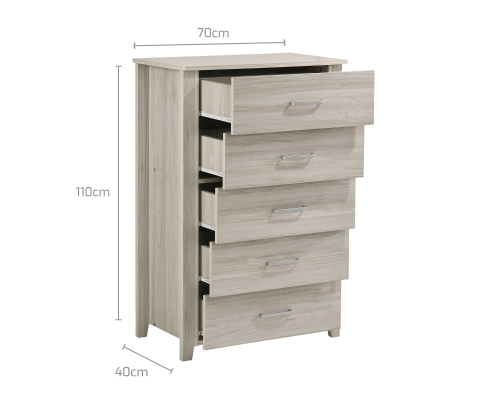 5 Chest Of Drawers Tallboy - White Oak