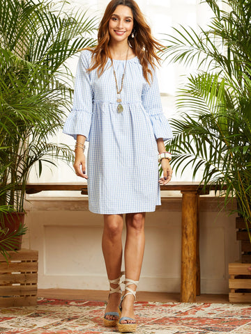 SBetro Gingham Flounce Sleeve Smock Dress