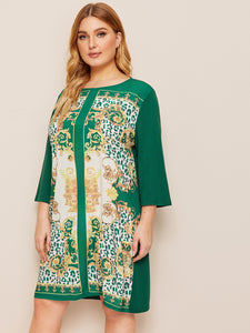 Plus Scarf Print Tunic Dress