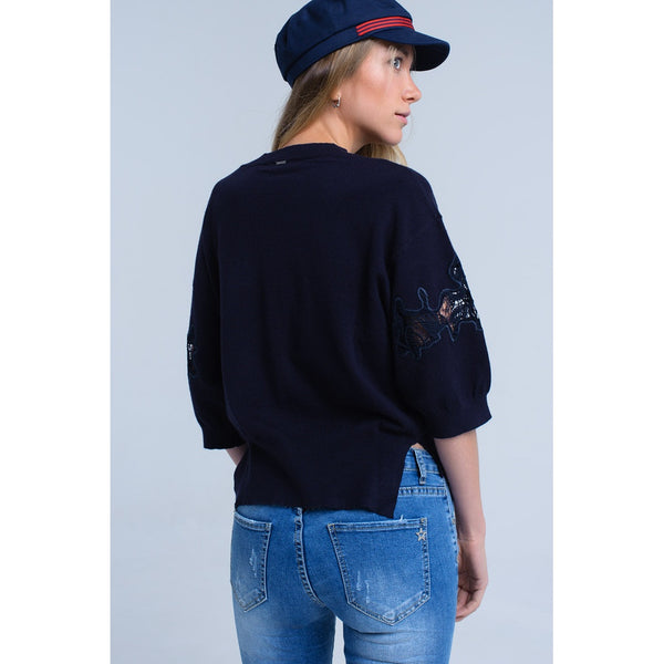 Navy jersey with embroidery detail