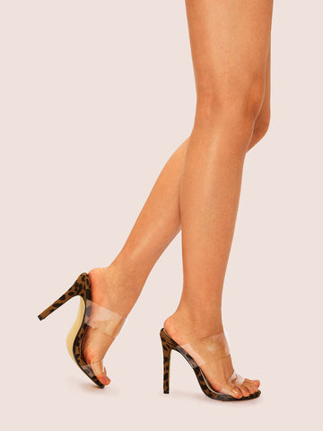 Clear Strap Leopard Pattern Stiletto Heels