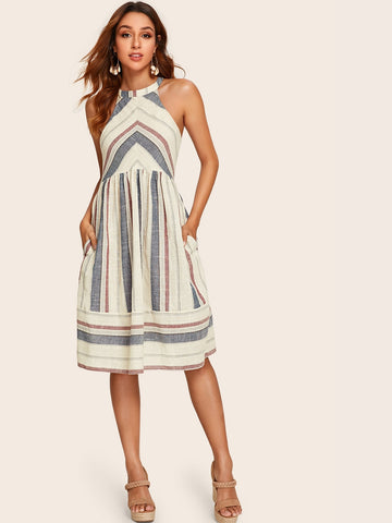 Tie Back Pocket Side Striped Halter Dress