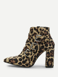 Buckle Leopard Ankle Boots