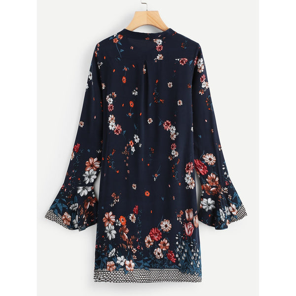 Tie Neck Floral Tunic Dress