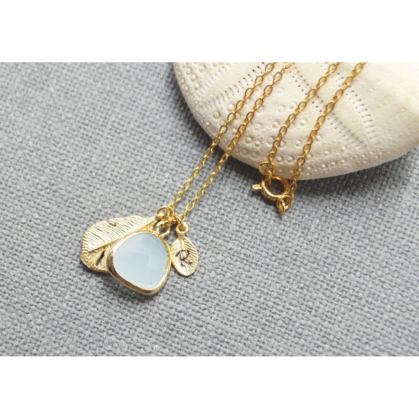 Gold personalized dangle mint drop necklace