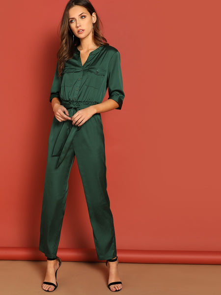 Pocket Patched Self Belted Utility Shirt Jumpsuit