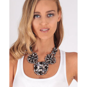 Izoa Crystal Beaded Statement Necklace in Silver and Gold