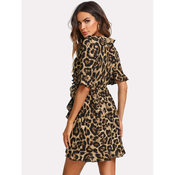 Ruffle Trim Surplice Wrap Leopard Dress