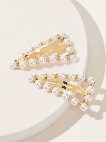 Rhinestone Engraved Faux Pearl Hair Snap Clip 1pair