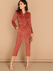 Button & Pocket Front Belted Solid Utility Jumpsuit