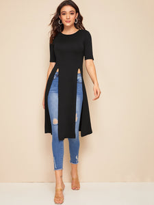 Solid Split Thigh Hem Tee