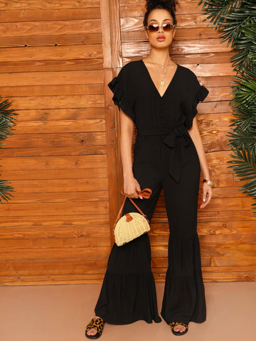 Batwing Sleeve Flounce Trim Flare Leg Belted Jumpsuit