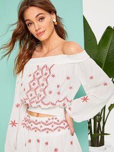 Embroidered Detail Shirred Panel Off Shoulder Top