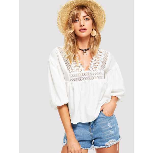 Lace Contrast Bishop Sleeve Top