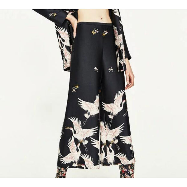 Bird Print Loose Wide leg pants - LB Boutique