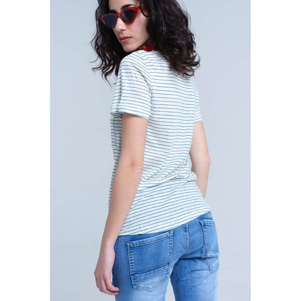 Cream t-shirt with turquoise stripe - LB Boutique