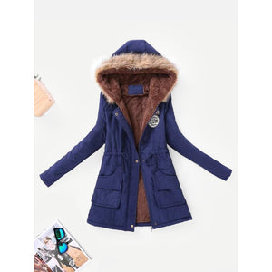 Lined Faux Fur Hood Parka Coat