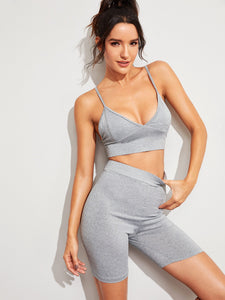 Solid Crop Top With Skinny Cycling Shorts Co-ord