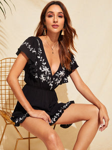 Double V-Neck Ruffle Trim Embroidery Romper