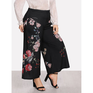 Botanical Print Wide Leg Pants - LB Boutique