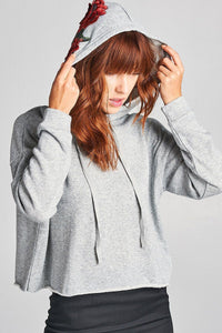 Floral Patch Hoodie (Heather Grey)