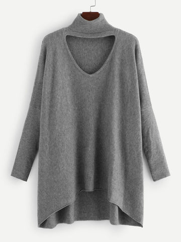 V-cut Choker Neck Dip Hem Sweater