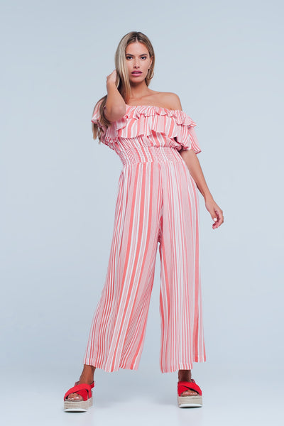 Red Striped Jumpsuit with Rushes