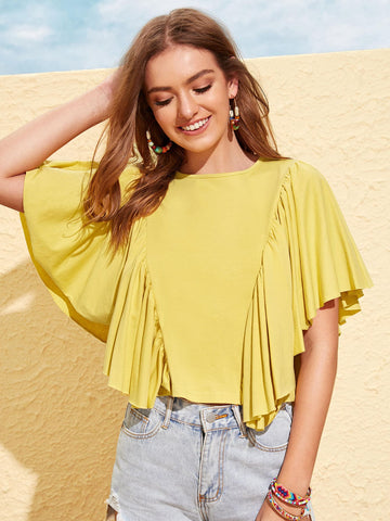 Exaggerated Ruffle Armhole Top