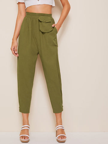 Pocket Elastic Waist Crop Trousers