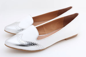 Pointed Toe Ballerina (Silver White)