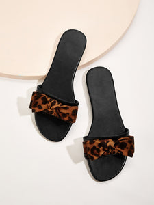 Leopard Pattern Bow Tie Flat Slippers