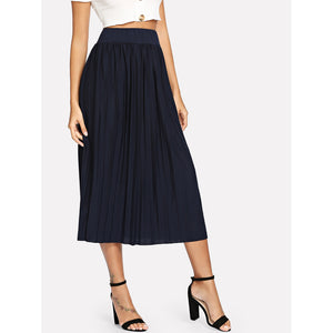 Solid Pleated Skirt