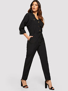 Drawstring Waist Single Breasted Utility Jumpsuit