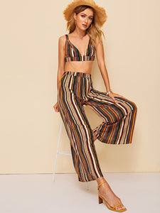 Striped Triangle Top and Wide Leg Pants Set