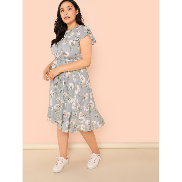 Floral Print Self Belted Dress