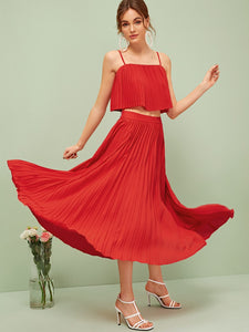 Flowy Pleated Cami Top and Wide Waistband Skirt Set