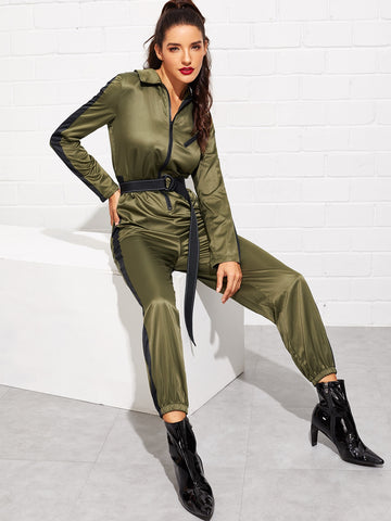 Zip Front Contrast Sideseam Self Belted Utility Jumpsuit
