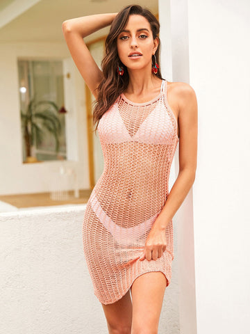 Sheer Bodycon Crochet Cover Up Without Lingerie Set